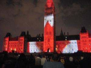 Light show on parliament hill
