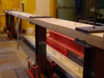 A three span continuous post tensioned slab strip before testing under elevated temperature.