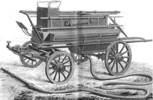 1830 illustration of fire truck taken from Braidwood's book